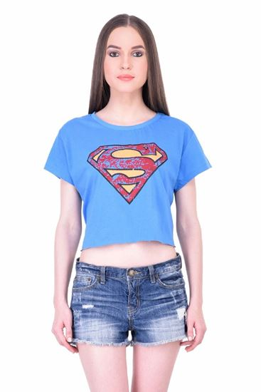 37087059c732 Picture of The Dry State Women's Half Sleeves Cotton Crop Top (CT05160015-$P_Blue
