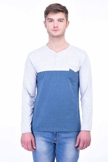 Picture of The Dry State Men's Cotton Full Sleeve Henley T-Shirt(FS05161010-$P_Blue With Gray Pocket)